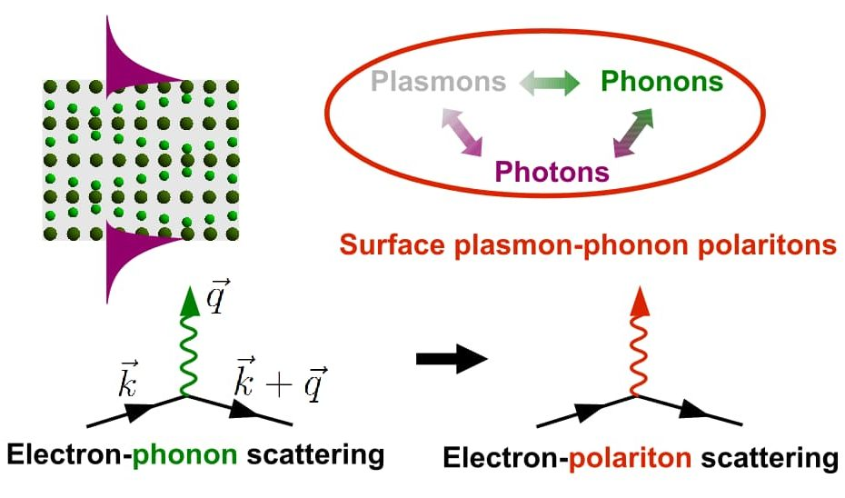 Enhancement of the electron-phonon scattering due to surface plasmon-phonon polaritons.